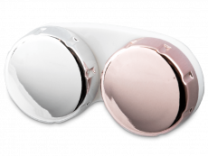 Contact lens case with mirrored finish – pink/silver