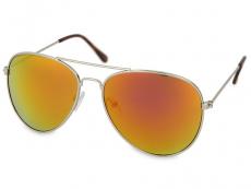 Sunglasses Silver Pilot - Pink/Orange