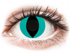 CRAZY LENS - Cat Eye Aqua - plano (2 daily coloured lenses)