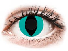 CRAZY LENS - Cat Eye Aqua - plano (2 daily coloured lenses)