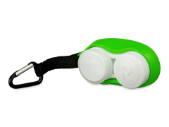 Lens case with carbiner - green